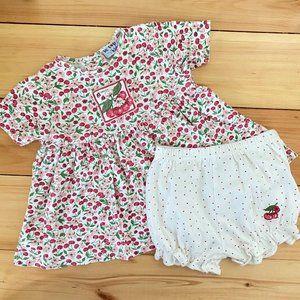 Vintage Le Lop Cherry Dress & Bloomers 24 Months